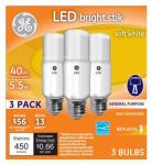 G E Lighting 63551 LED Bright Stik Light Stick Bulb, Soft White, 5-Watts, 3-Pk.