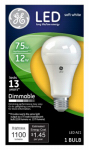 G E Lighting 65735 LED Light Bulb, Soft White, Dimmable, 800 Lumens, 12-Watt