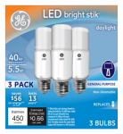 G E Lighting 63553 LED Bright Stik Light Bulb, Daylight, 5-Watts, 3-Pk.