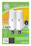 G E Lighting 63797 LED Bright Stik Light Bulb, Soft White, 12-Watts, 2-Pk.