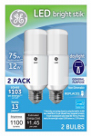 G E Lighting 63798 LED Bright Stik Light Bulb, Daylight, 12-Watts, 2-Pk.