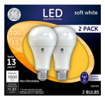 G E Lighting 65745 LED Light Bulb, White, 1600 Lumens, 15-Watt, 2-Pk.