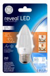 G E Lighting 37296 Reveal Clear Dimmable LED Bulb, B10 Shape, 3W