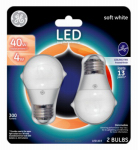 G E Lighting 63877 LED Light Bulb, Soft White, 300 Lumens, 4-Watt, 2-Pk.