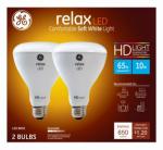 G E Lighting 68430 Relax Heavy Duty LED Light Bulbs, Soft White, Dimmable, 650 Lumens, 10-Watt, 2-Pk.