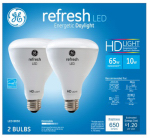 G E Lighting 68431 Refresh LED Light Bulbs, Daylight, Dimmable, 1,700 Lumens, 10-Watt, 2-Pk.