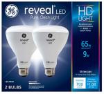 G E Lighting 30691 Reveal Heavy Duty + LED Light Bulbs, Dimmable, 580 Lumens, 11-Watt, 2-Pk.