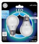 G E Lighting 34751 LED Light Bulb, Soft White, Dimmable, 800 Lumens, 7-Watt, 2-Pk.