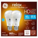 G E Lighting 68395 Relax Heavy Duty LED Light Bulb, Soft White, Dimmable, 800 Lumens, 10.5-Watt, 2-Pk.