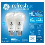 G E Lighting 68410 Refresh Heavy Duty LED Light Bulb, Daylight, Dimmable, 800 Lumens, 10-Watt, 2-Pk.