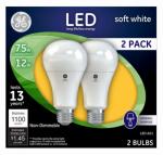 G E Lighting 65762 LED Light Bulb, Soft White, 1100 Lumens, 12-Watt, 2-Pk.