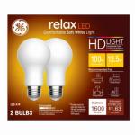 G E Lighting 68409 Relax Heavy Duty LED Light Bulbs, Soft White, Dimmable, 1,600 Lumens, 17-Watt, 2-Pk.