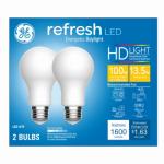 G E Lighting 68411 Refresh Heavy Duty LED Light Bulb, Daylight, 1,600 Lumens, 17-Watt 2-Pk.
