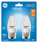 G E Lighting 68761 Refresh Heavy Duty LED Light Bulbs, Daylight Clear, 300 Lumens, 4-Watt, 2-Pk.