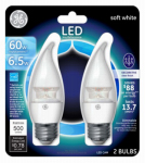 G E Lighting 34733 LED Light Bulb, Candelabra Base, 600 Lumens, 7-Watts, 2-Pk.