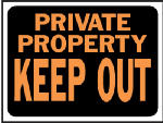 "Hy-Ko Prod 3016 9 x 2-Inch Hy-Glo Orange/ BlackPlastic ""Private Property Keep Out"" Sign"
