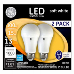 G E Lighting 65941 LED Light Bulb, A21, Soft White, Dimmable, 15-Watt, 2-Pk.