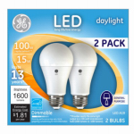 G E Lighting 66133 LED Light Bulb, A21, Daylight, Dimmable, 15-Watt, 2-Pk.