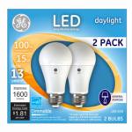 G E Lighting 66133 LED Light Bulb, A21, Daylight, Dimmable, 15-Watt, 2-Pk.