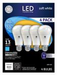 G E Lighting 67615 LED Light Bulb, A19, Soft White, Dimmable, 10-Watt, 4-Pk.