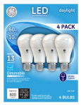 G E Lighting 67616 LED Light Bulb, A19, Daylight, Dimmable, 10-Watt, 4-Pk.