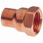 B&K W 61224 Pipe Fitting, Wrot Copper Adapter, 3/8 x 1/2-In. FPT