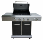 Permasteel PG-40409SOLB LP Gas Grill, 4 Burners + Searing Burner, 52,000-BTU, Black
