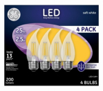 G E Lighting 10193 Decorative LED Light Bulb, Medium-Base, Clear, 2.5-Watt, 4-Pk.