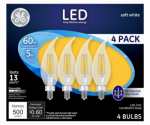 G E Lighting 13325 GE 4PK 5W LED CAC Bulb