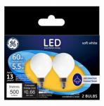 G E Lighting 25923 LED Light Bulb, G16, Frost, 5.5-Watts, 2-Pk.