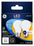 G E Lighting 25986 Ceiling Fan LED Light Bulb, A15, Frost, 5.5-Watts, 2-Pk.
