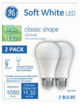 G E Lighting 21004 LED Light Bulbs, A19, Soft White, 11-Watt, 2-Pk.