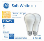 G E Lighting 21226 GE 2PK 16W LED A21 Bulb
