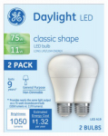 G E Lighting 21173 LED Light Bulb, A19, Daylight, 11-Watts, 2-Pk.