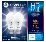 G E Lighting 22591 Reveal Heavy Duty + LED Light Bulb, 350 Lumens, 5.5-Watt, 2-Pk.