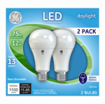 G E Lighting 21758 GE 2PK 12W LED A19 Bulb