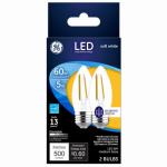 G E Lighting 23336 Decorative LED Light Bulb, Blunt-Tip, Medium-Base, Clear, 5-Watts, 2-Pk.