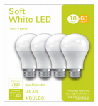 G E Lighting 32586 4PK 10W SW A19 Bulb