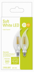 G E Lighting 32596 LED Light Bulb, Clear, Candelabra-Base, 4-Watts, 2-Pk.