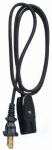 Ho Wah Gentin Kintron Sdnbhd 09303ME 3-Ft. 18/2 HPN Black Miniature Plug Appliance Cord