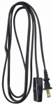 Ho Wah Gentin Kintron Sdnbhd 09306ME 6-Ft. 18/2 HPN Black Miniature Plug Appliance Cord