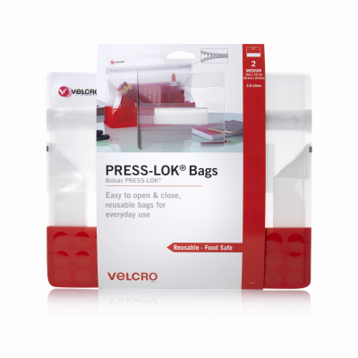 Velcro Usa Consumer Pdts 95177 Press-Lok Bags, Medium, Red, 2-Pk. - Quantity 6