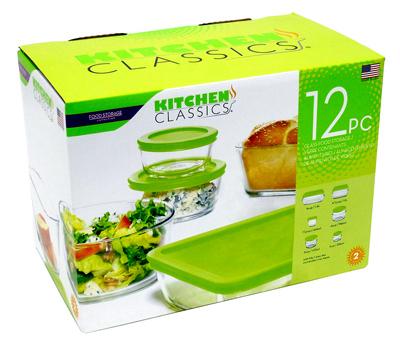 Kitchen Classics 195-92235LIB Food Storage Set, Tempered Gla