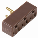 Pass & Seymour 697CC20 Plug-In Triple Outlet Adapter, Brown, 15-Amp, 125-Volt
