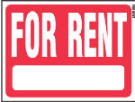 "Hy-Ko Prod RS-603 Sign, ""For Rent"", Red & White Heavy-Gauge Plastic, 18 x 24-In."