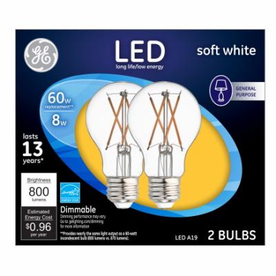 GE Lighting 37674 LED Light Bulbs, Soft White Clear, 7-Watts
