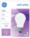 G E Lighting 97491 Soft White Light Bulbs, 15-Watt, 2-Pk., Must Purchase in Quantities of 12