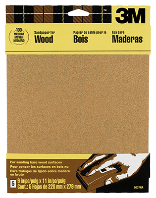 3M 9038NA 9 X 11 Course Bare Woods Sandpaper