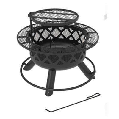SRFP9624 Ranch Fire Pit With Side Tables & Grill Top, 24-In. - Quantity 1