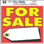 "Hy-Ko Prod 22606 13 x 13-Inch Multi Color Vinyl Self Adhesive Tag ""For Sale"" Sign"